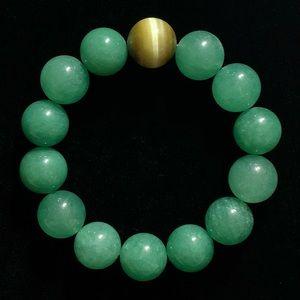 Natural Tiger Eye and Aventurine Gemstone Bracelet